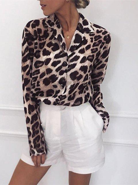 Shirt Collar Leopard Print Buttoned Vintage Blouses