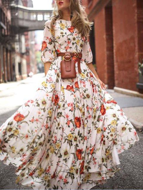 White Women Spring Dresses Swing Date Floral-Print Dresses