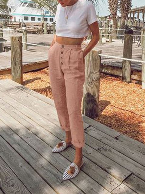 5 Colors Plain Buttoned Pockets 2019 New Pants