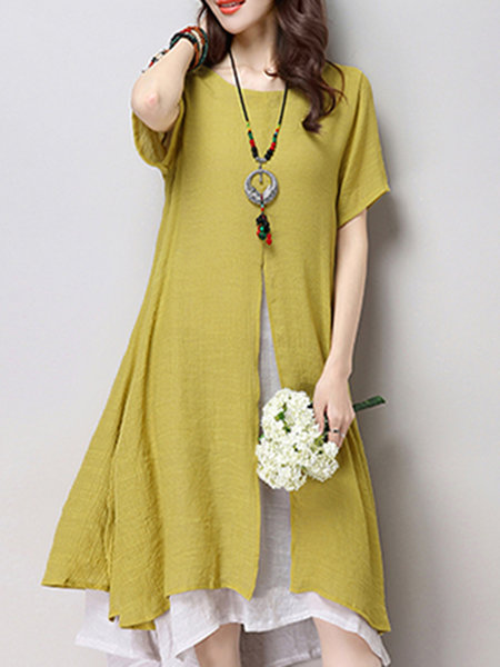 Women Daytime Casual Short Sleeve Slit Casual Dress