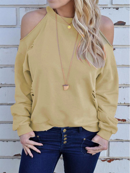 Nude Cutout Cold Shoulder Sexy Sweatshirt