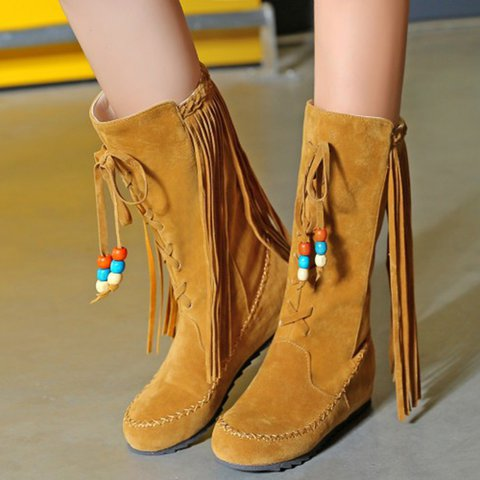 f087b307e71 Women New Boho Casual Flat Tassel High Boots Fashion Shoes