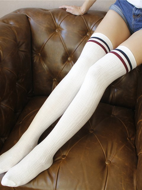 8 Colors Lady's Striped Cute Sweet Long Socks