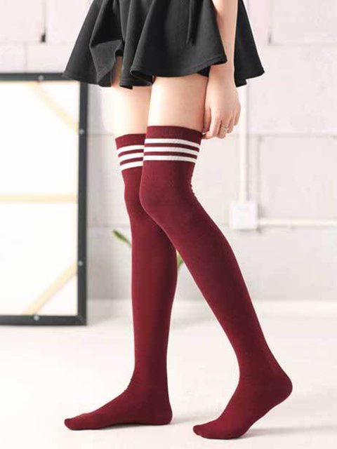 c8ccd9b1bb1 JustFashionNow Striped Red Socks All Season Polyester Casual Socks