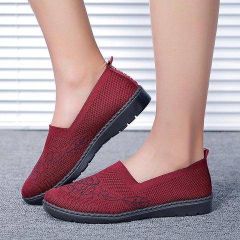 Women's Flyknit Breathable Loafers Fashion Slip On Walking Shoes