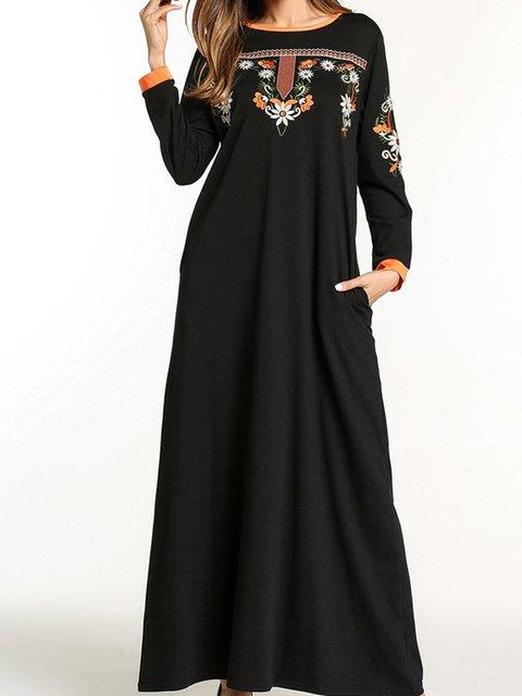 Black Cotton Round Neck Long Sleeve Dresses