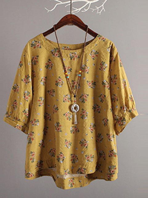 Women Cute Floral Printed Crew Neck Cotton 3/4 Sleeve Tops