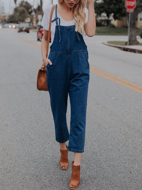 Deep Blue Solid Sleeveless Spaghetti Jumpsuits