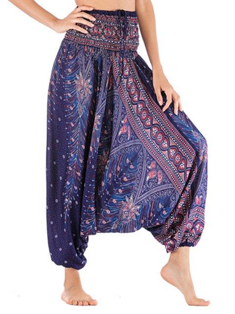 Plus Size Women's Boho Yoga Peacock Stretchy Thai Harem Loose Casual Pants/Dresses