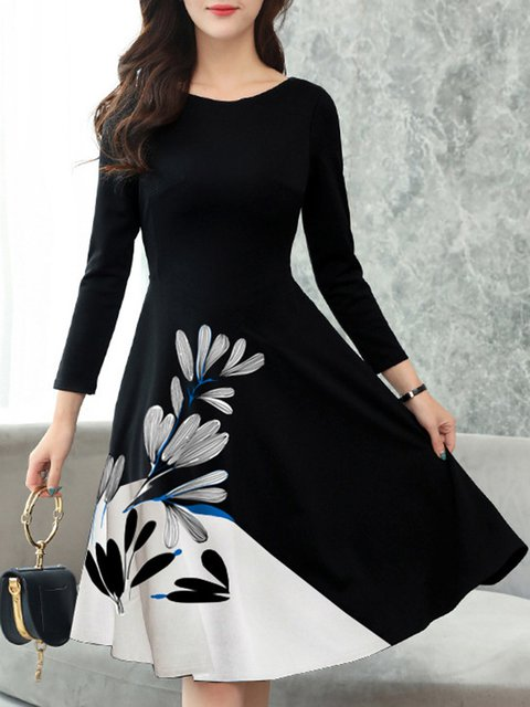 Crew Neck Black Women Spring Dresses Date Paneled Floral Dresses