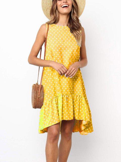Crew Neck Women Summer Dresses Asymmetrical Folds Polka Dots Dresses
