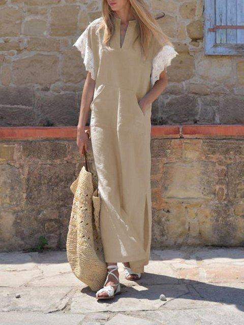 V Neck Women Summer Dresses Shift Casual Vintage Paneled Dresses