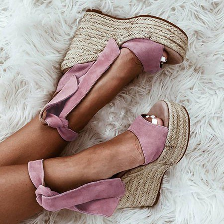 Women Flocking Wedge Sandals Casual Plus Size Lace Up Shoes