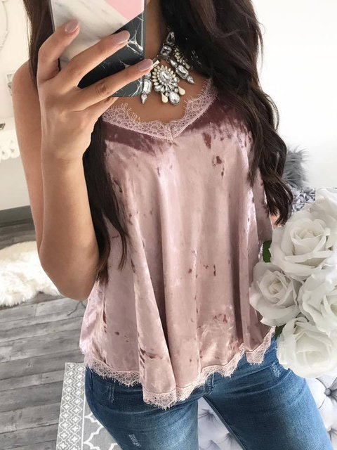 Lace Solid Spaghetti Sweet Paneled Camis