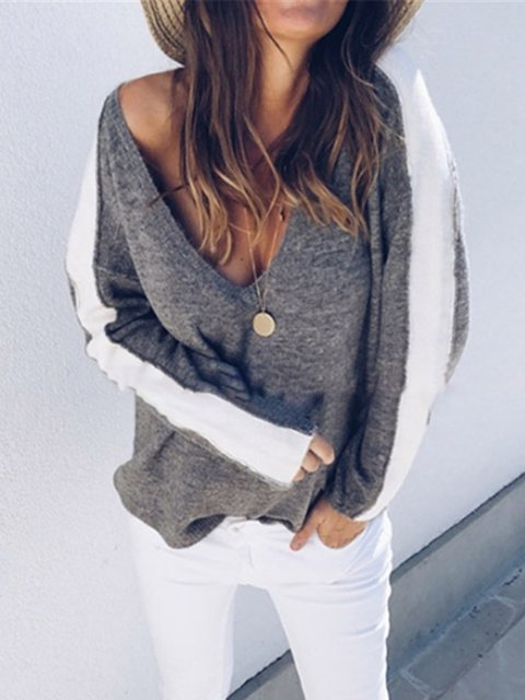 Casual Knitted Long Sleeve Shirts & Tops