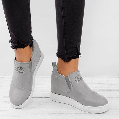 Fashion Letter Slip On Wedge Sneakers Faux Suede Wedge Heel Casual Sneakers 4cd043855a4