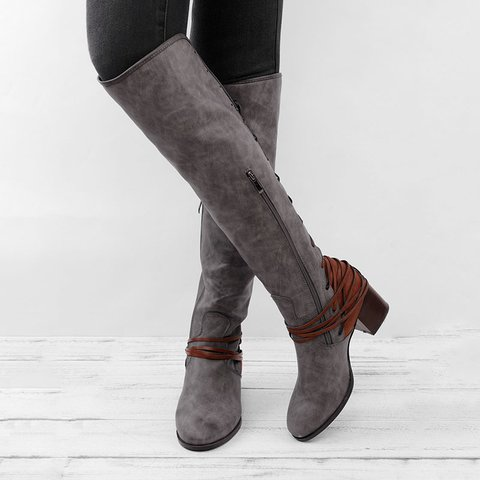 536de79182197 Women Vintage Lace Up Boots European Style Bandage Above Knee Boots