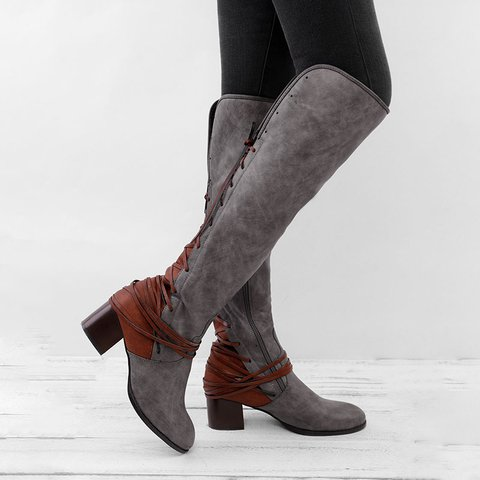 acb8dcb70c6 Women Vintage Lace Up Boots European Style Bandage Above Knee Boots ...