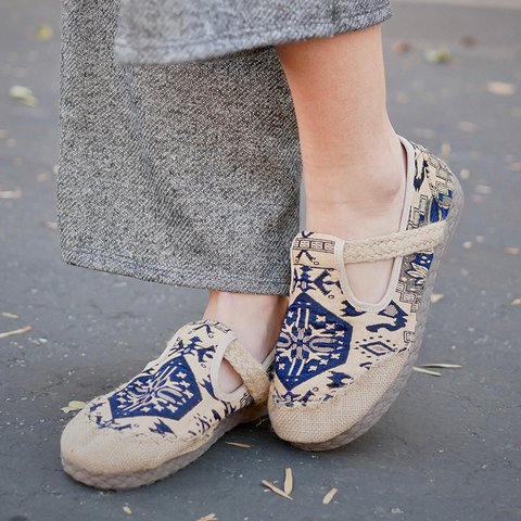 Embroidered Slip-On Women Tribal Fabric Loafers