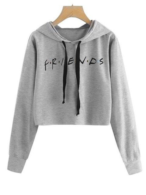 Paneled Cotton Solid Long Sleeve Friends Printed Hoodies
