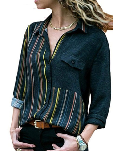 Casual Turn Down Collar Striped Blouses