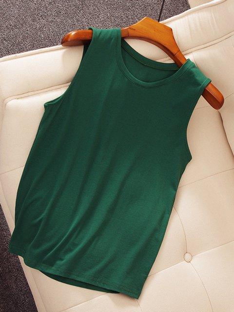 5 Colors Simple & Basic Sleeveless Crew Neck Primer Camis