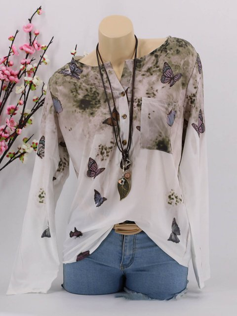 5 Colors Graphic-Printed Butterfly Paneled Plus Size Blouses