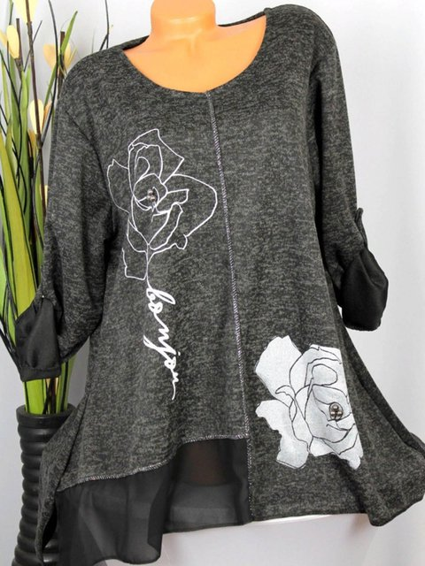 S-5XL Floral-Printed Casual Floral Blouses T-shirts