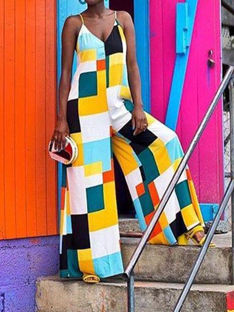 Multicolor Sleeveless Sexy Spaghetti Color-Block Jumpsuits