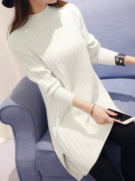 Knitted Stand Collar H-line Long Sleeve Sweater