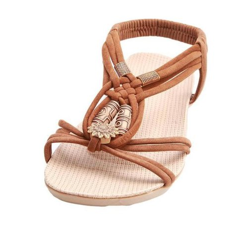 54c0665e66984a Justfashionnow Sandals Casual Brown Open Toe Flat Heel Sandals