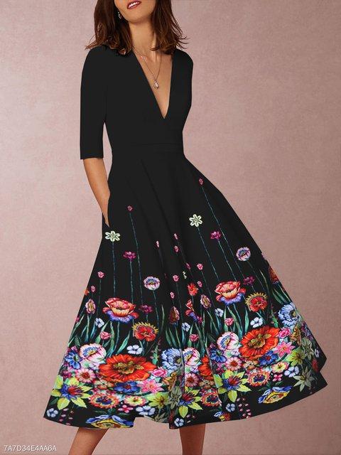 V Neck Black Women Spring Dresses A-Line Daily Vintage Floral Dresses