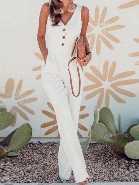 White Vintage Sleeveless Cotton-Blend Pockets Jumpsuits