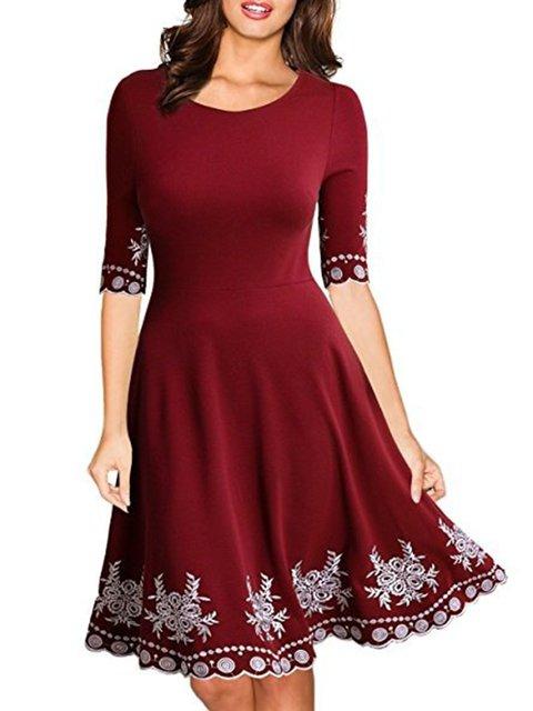 Crew Neck Women Elegant Dresses A-Line Daily Elegant Dresses