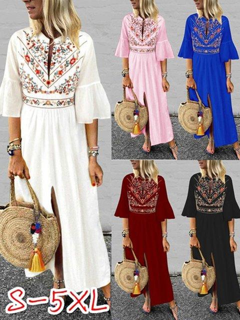 Plus SizeCotton/Linen Floral Printed Vintage Dress