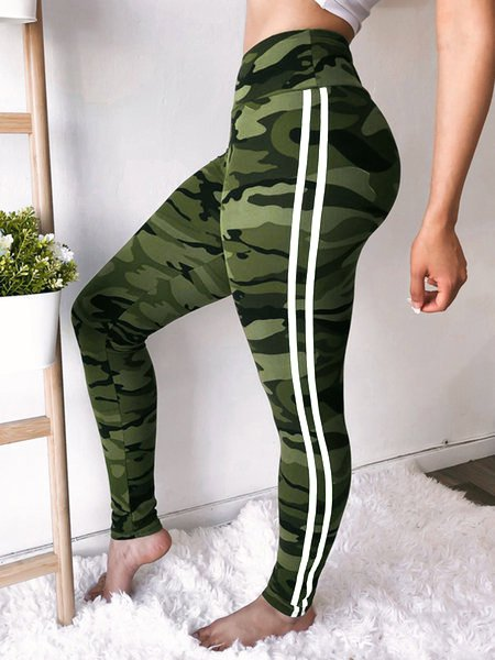 Bottoms Plain Casual Basic Trousers Striped Yoga Legging Pants For Women