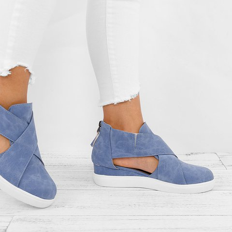 ae72aa839ad Criss-cross Cut-out Wedge Sneakers Plus Size Wedge Heel Shoes with Zipper
