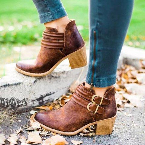 Women Retro PU Booties Adjustable Buckle Middle Heels Ankle Boots