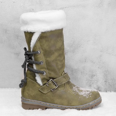Buckle Fur Lining Mid Calf Flat Boots