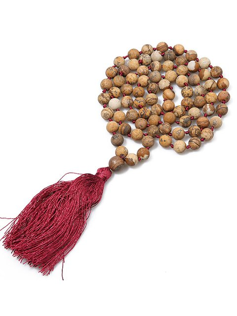 Boho Style Clothing Accessories Tassel Semi-precious Stone String Necklace