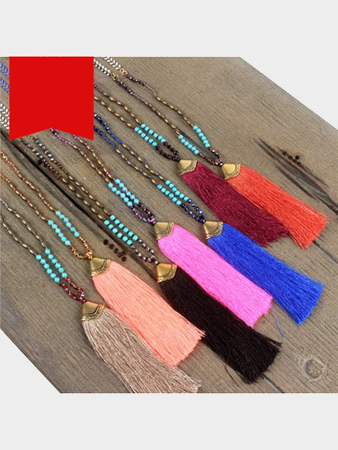Clothing Accessories Boho Tassel Semi-precious Stones Crystal Necklace