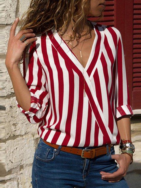Long Sleeve V Neck Striped Shirts & Tops