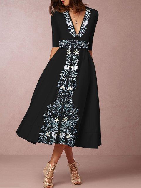 Black Women Spring Dresses A-Line Party Vintage Floral Dresses