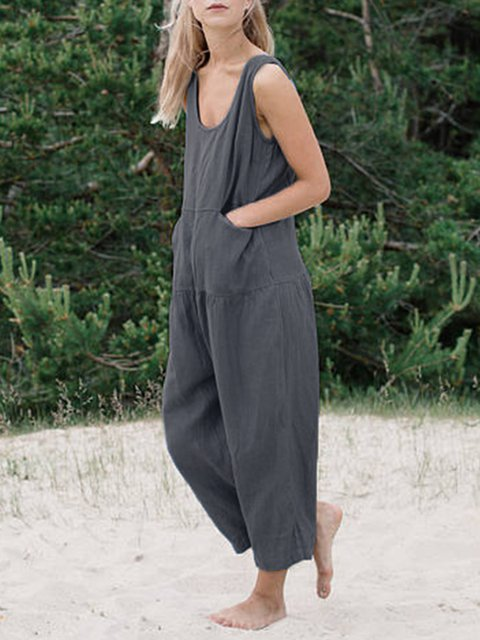 Casual Plus Size Sleeveless Jumpsuit