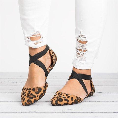 Cross Strap Leopard Flats Sandals