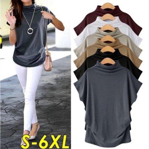 Plus Size Solid Turtleneck Short Sleeve T-Shirts