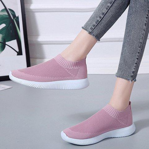 Plus Size Slip On Sneakers Flyknit Fabric Sneakers