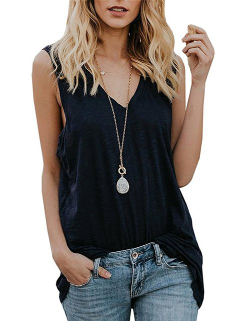 Women's Cotton Casual V-neck Sleeveless Vest Daily T-shirt&Tank