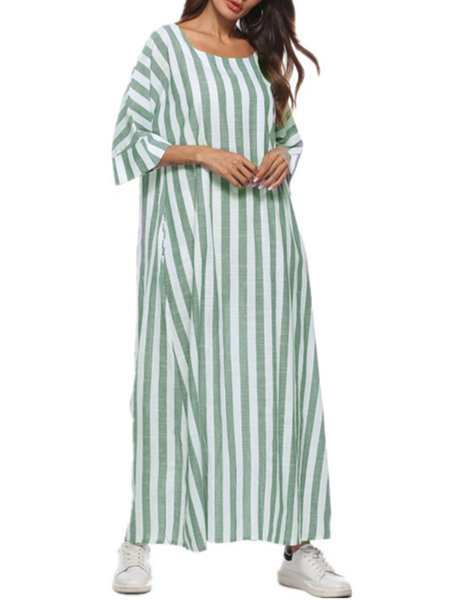 b6c7894f2b94 Gray Shift Women Daytime Cotton 3/4 Sleeve Printed Striped Summer Dress