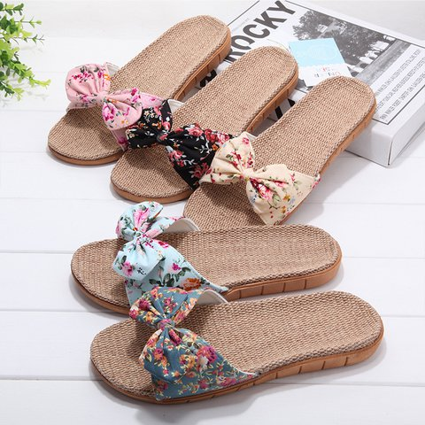 Women Flat Heel Beach Cloth Bowknot Slippers